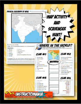 India Where in the World Scavanger Hunt & Map Activity Physical Geography