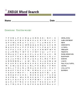 India Word Search (see preview)