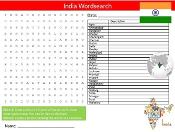 India Wordsearch & Anagrams Puzzle Sheet Keywords Country Geography
