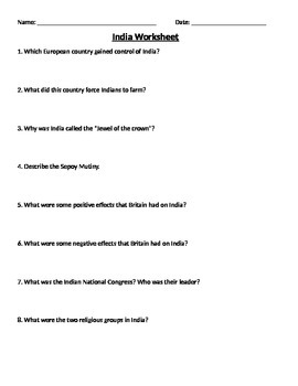 Global 2: India Worksheet