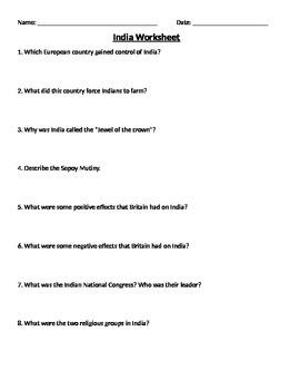 Global 2: India Worksheet