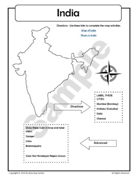 India:  Worksheets, Maps, and Journaling Pages