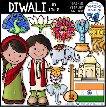 India and Diwali Clip Art