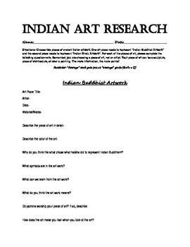 Indian Art Work Research Project