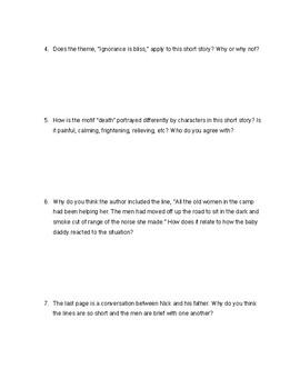 Indian Camp - Hemingway worksheet