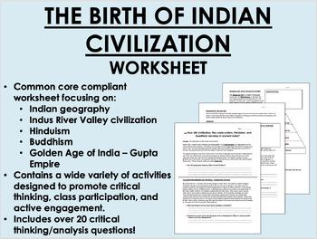 Indian Civilization worksheet - Hinduism & Buddhism - Global/World Common Core
