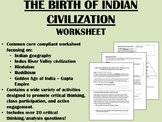 The Birth of Indian Civilization worksheet - Hinduism, Buddhism