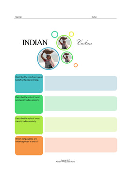 Indian Culture:  A Fillable Fact-Finding Sheet