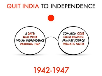 Indian Independence -- Partition 1942-1947 THEMATIC NOTEBOOK #2 W/ KEY