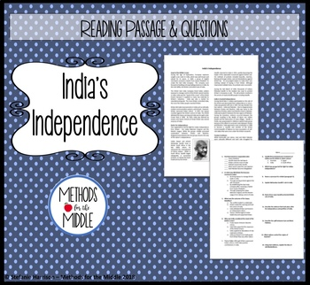 Indian Independence Reading and Questions