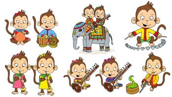 Indian Musical Monkeys Clipart