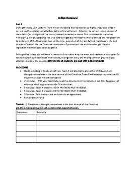 Indian Removal (AP US History -  Structured Academic Controversy)