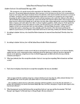 Indian Removal Act 1830 Primary Source Reading