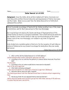 Indian Removal Act Adapted Primary Source Worksheet with Answer Key