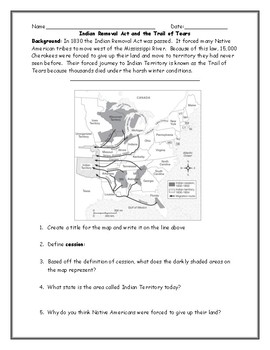 Indian Removal Act Map and Trails of Tears Worksheet with Answer Key
