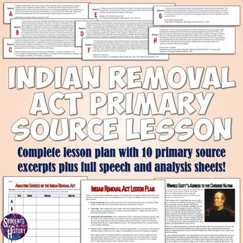 Indian Removal Act Primary Source Analysis Lesson Plan