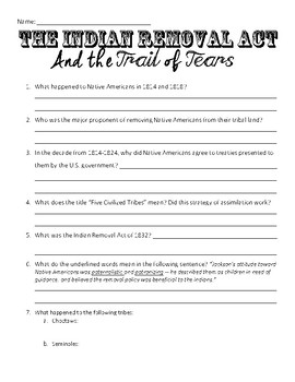 Indian Removal Act & Trail of Tears Reading Comprehension