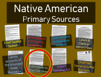 Indian Removal Cherokee Ultimatum : Native American Primary Source w guiding Qs