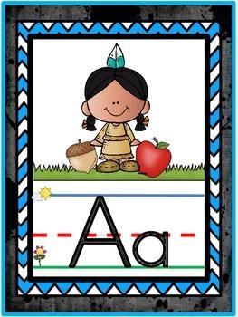 Indian Warrior Mascot Alphabet Line Classroom Decor