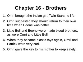Indian in the Cupboard - Chapter Summaries - Lynne Reid Banks