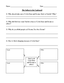 Indian in the Cupboard by Lynne Reid Banks Comprehension Test 2