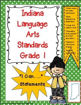 "Indiana 1st Grade Language Arts Standards ""I Can Statements"""
