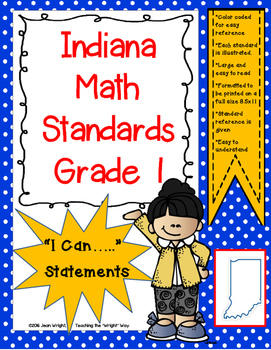 "Indiana 1st Grade Math Standards ""I Can Statements"""