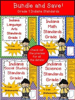 "Indiana 1st Grade Standards ""I Can Statements"" Bundle"