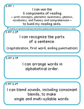 Indiana 2nd Grade I Can Statements Language Arts Math Social Standards Standards
