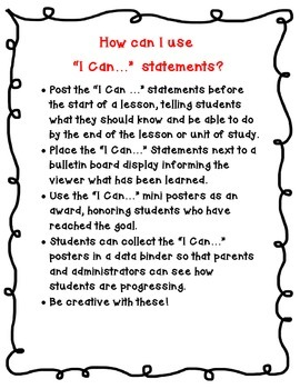 "Indiana 2nd Grade Language Arts Standards ""I Can Statements"""