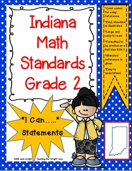 "Indiana 2nd Grade Math Standards ""I Can Statements"""