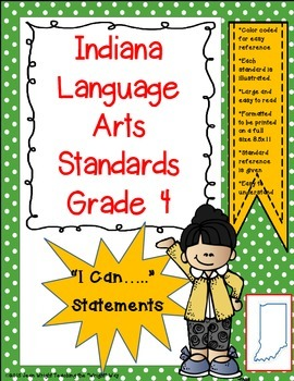 """Indiana 4th Grade Language Arts Standards """"I Can Statements"""""""