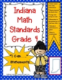 """Indiana 4th Grade Math Standards """"I Can Statements"""""""