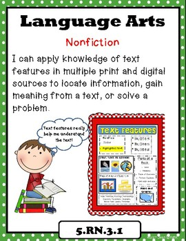 """Indiana 5th Grade Language Arts Standards """"I Can Statements"""""""