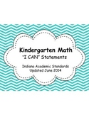 "Indiana Academic Kindergarten Math ""I Can Statements"""