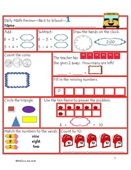 Indiana Academic Standards Daily Math Review Back to Schoo