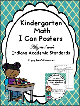 Indiana Academic Standards for  Kindergarten Math - I Can Posters