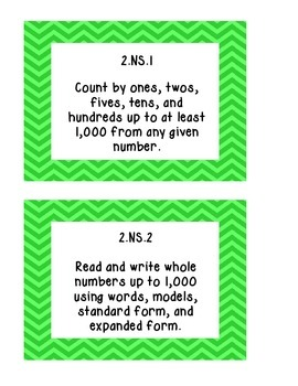 Indiana Academic Standards for Math (2014): Grade 2 Mini-Posters