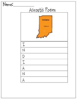 Indiana Acrostic Poem
