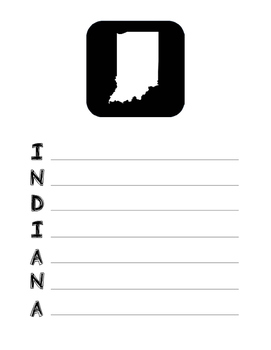 Indiana State Acrostic Poem Template, Project, Activity, Worksheet