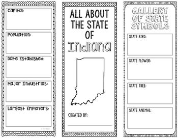 Indiana - State Research Project - Interactive Notebook - Mini Book