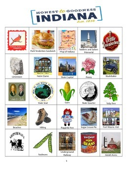 Indiana Bingo:  State Symbols and Popular Sites
