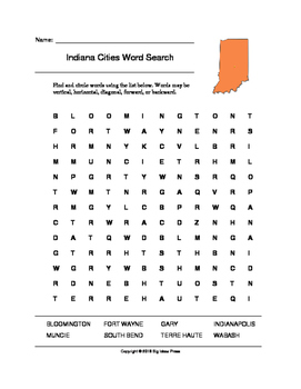 Indiana Cities Word Search (Grades 3-5)