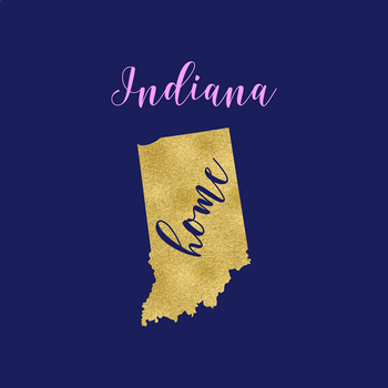 Indiana Clipart, USA State Vector Clipart, Indiana Home, Gold US Clipart