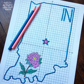 Indiana Coordinate Graphing Picture 1st Quadrant & ALL 4 Quadrants