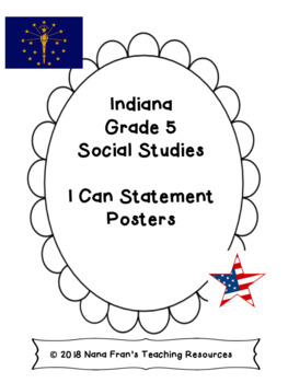 Indiana Grade 5 Social Studies Bundle of I Can Statements and Checklists