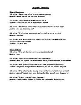 Indiana History Chapter 1 Jeopardy Review Questions