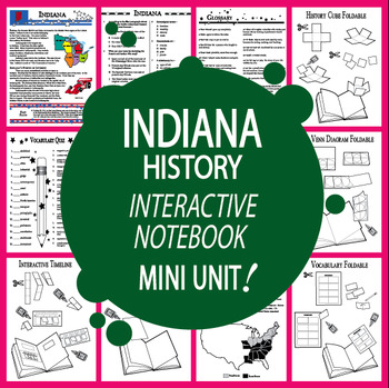 Indiana History–Interactive Notebook Indiana State Study Unit + AUDIO!