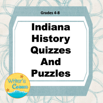 Indiana History Quizzes and Puzzles, Coloring Pages, Famous Hoosiers, Sub Plan,