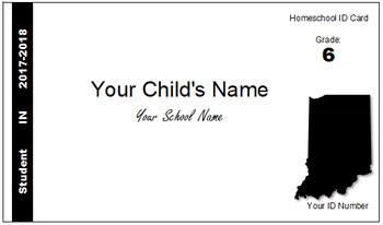 Indiana (IN) Homeschool ID Cards for Teachers and Students